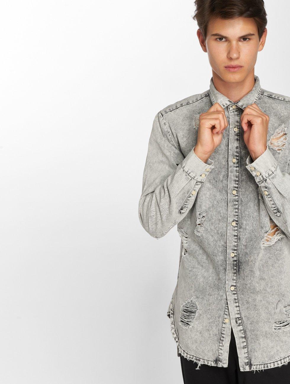 Sixth June overhemd Destroyed grijs