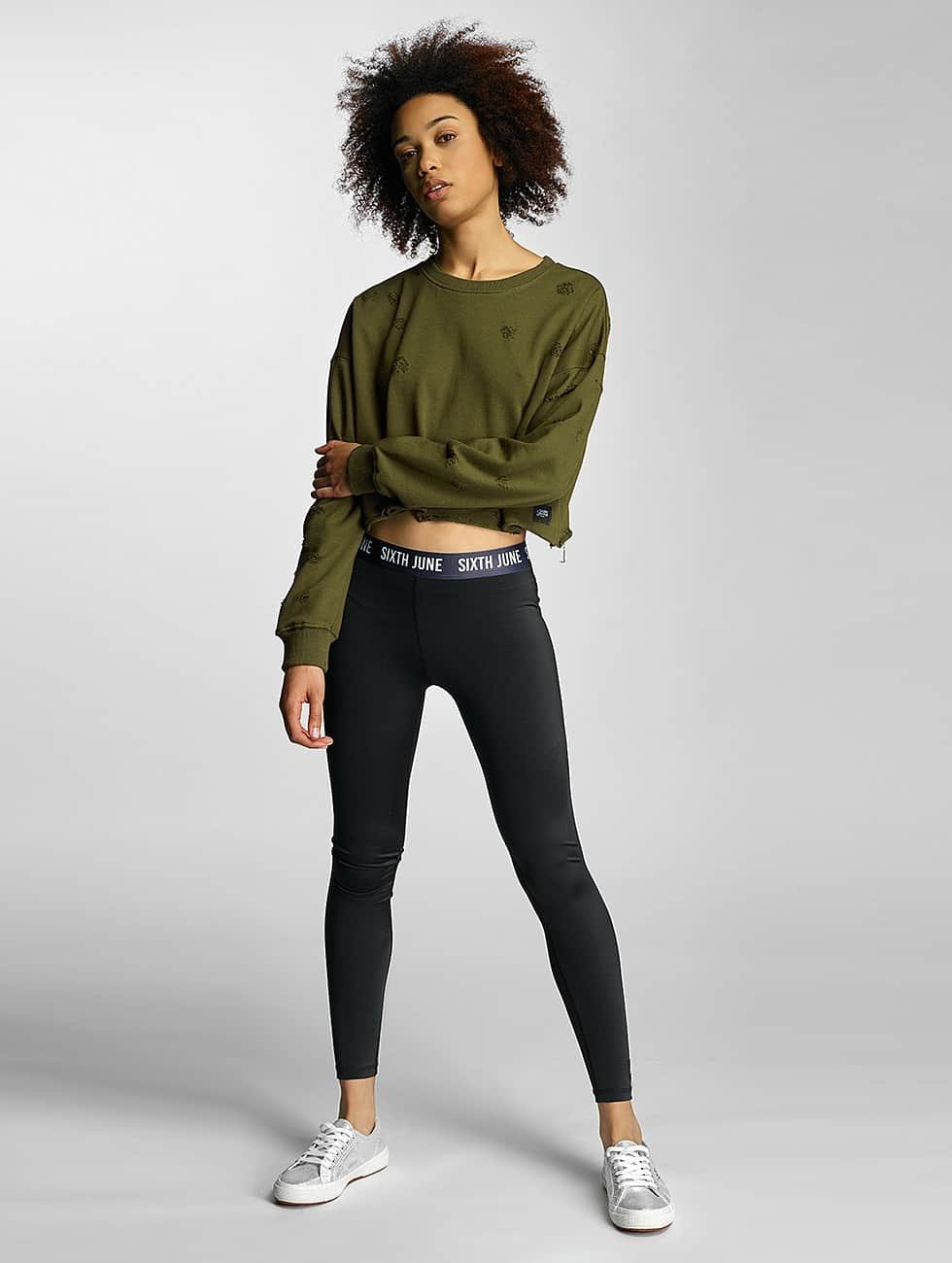 Sixth June Swetry Destroyed Cropped khaki