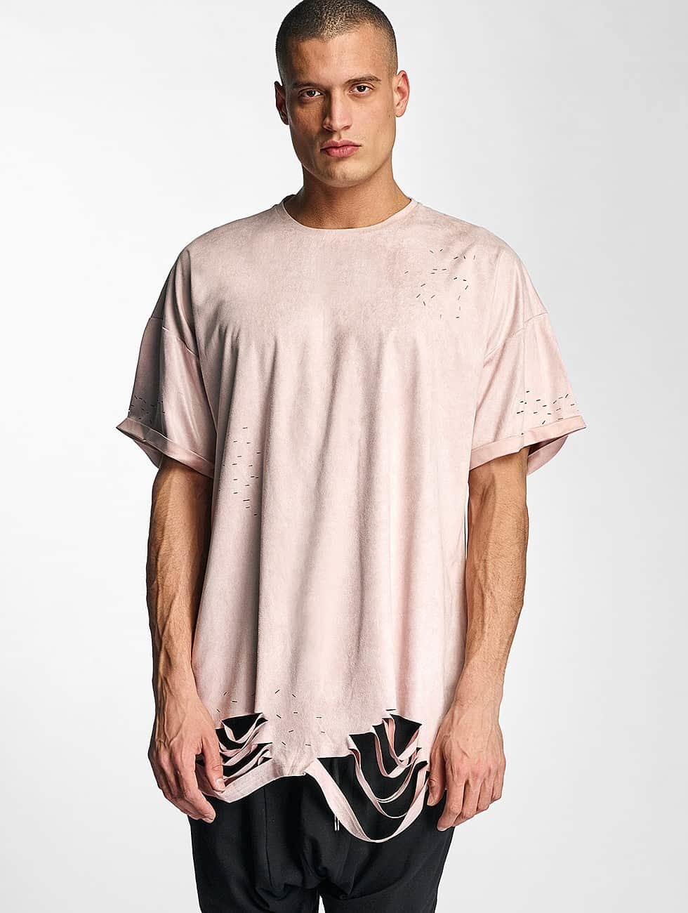 Sixth June T-Shirt Destroyed Overside Suede rosa