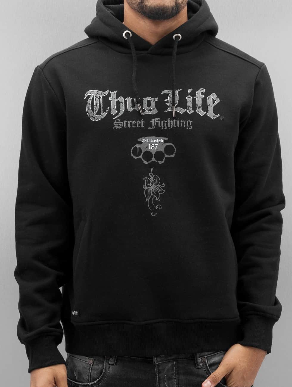 Thug Life Hoodie Deadflower black