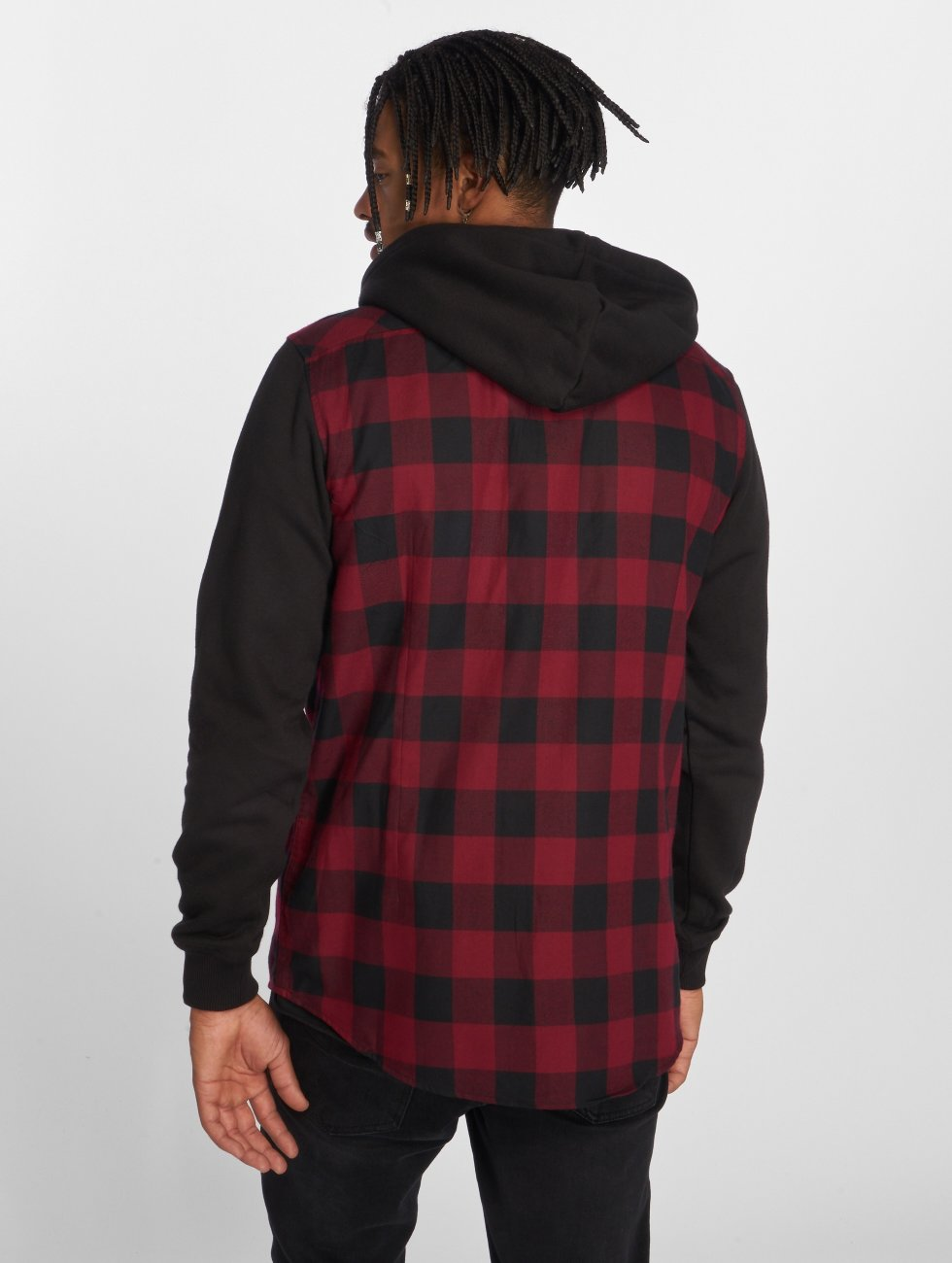 Urban Classics Hemd Hooded Checked Flanell rot