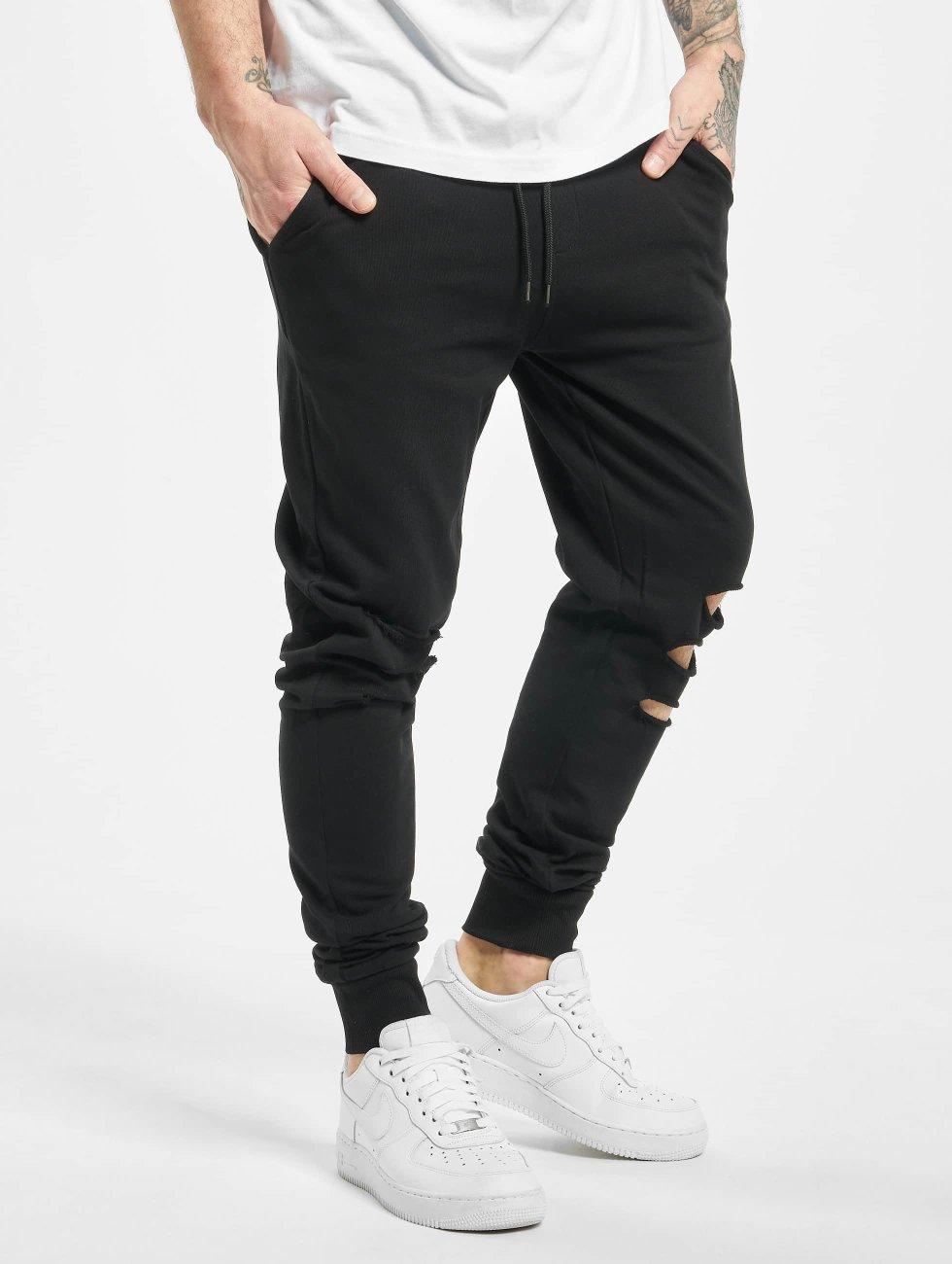 Urban Classics Jogginghose Cutted Terry schwarz
