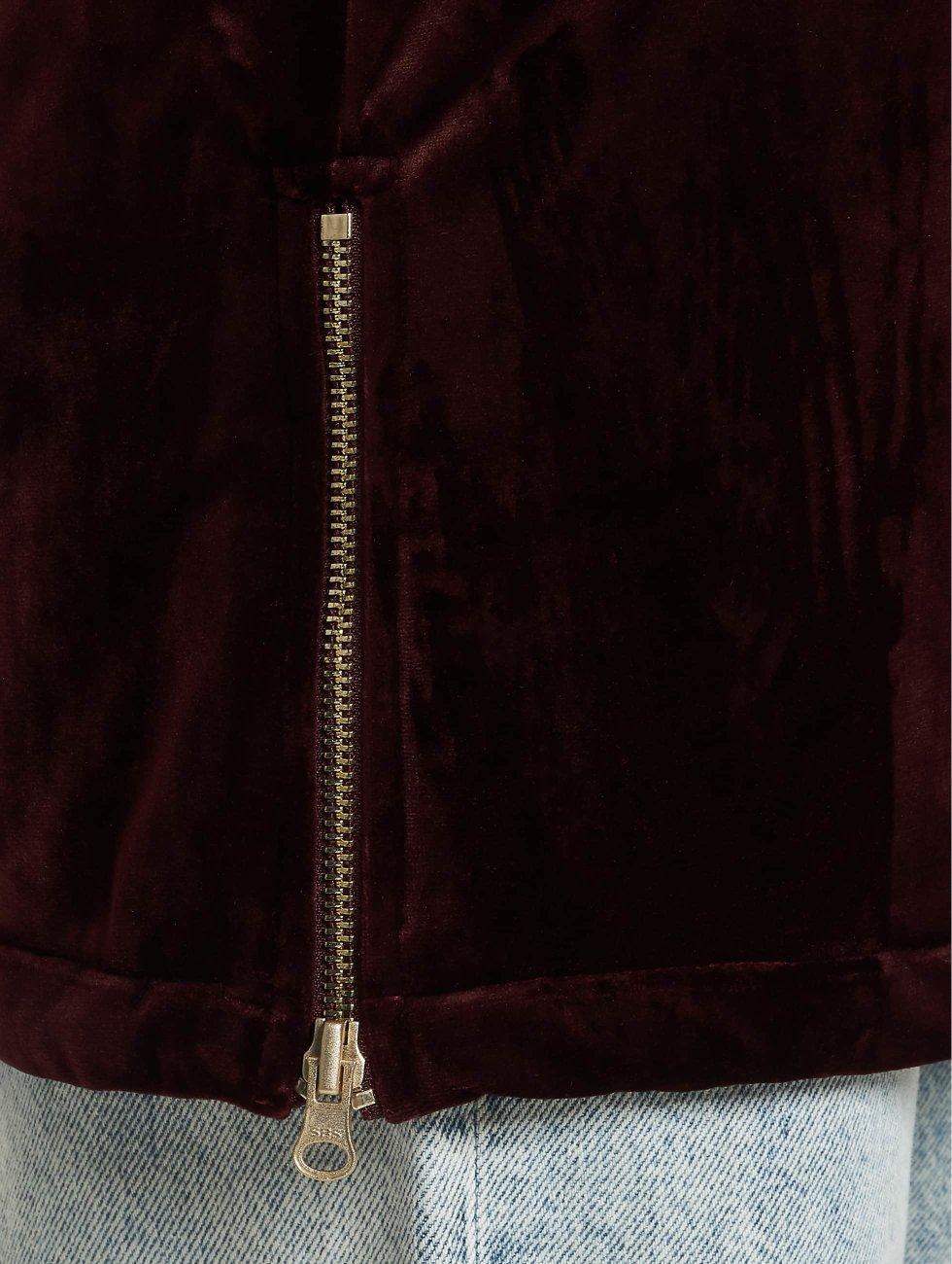 Urban Classics Lightweight Jacket Ladies Long Velvet red