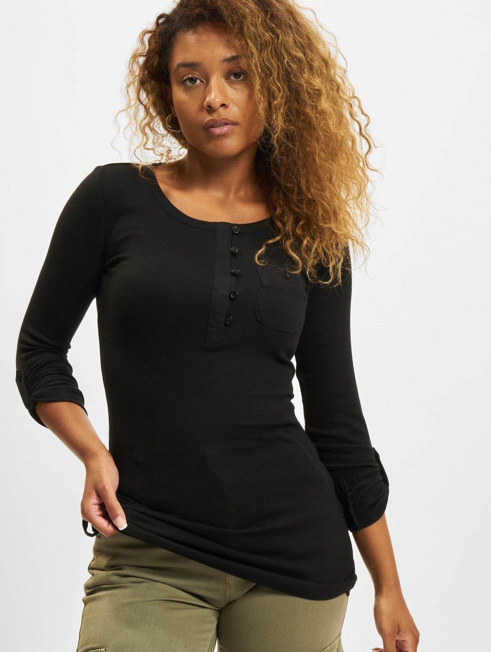 Urban Classics Longsleeve Ladies Long Rib Pocket Turnup schwarz