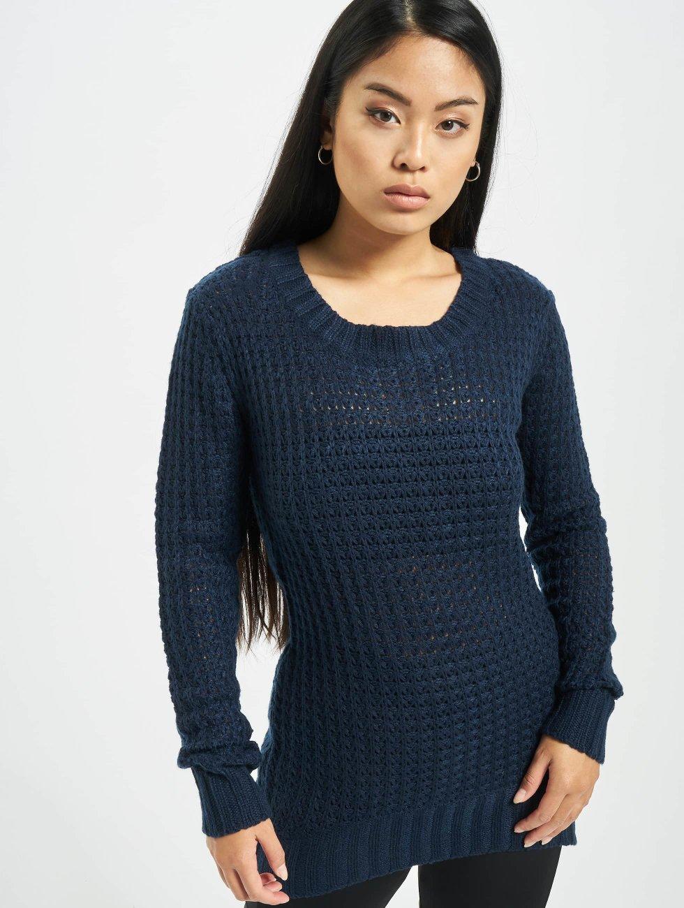 Urban Classics Pullover Ladies Long Wideneck blau