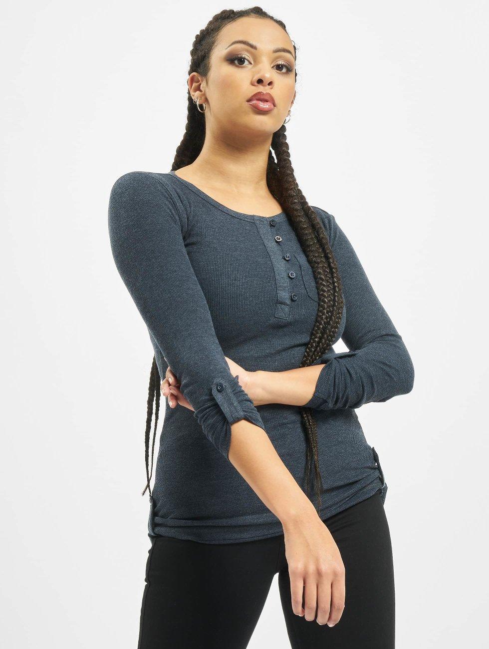 Urban Classics T-Shirt manches longues Long Rib Pocket Turnup indigo