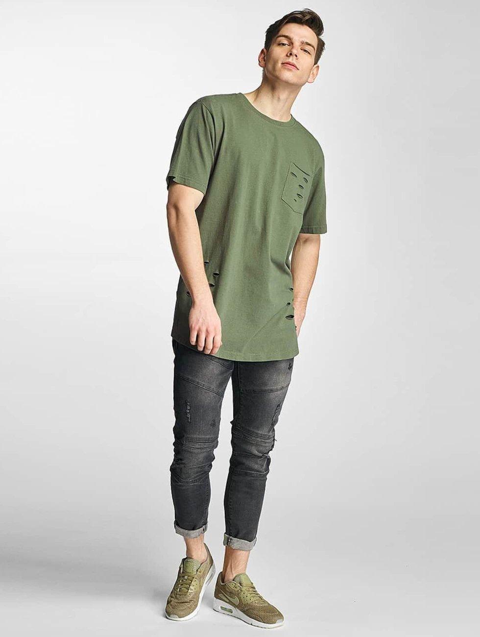Urban Classics T-Shirt Ripped Pocket olive