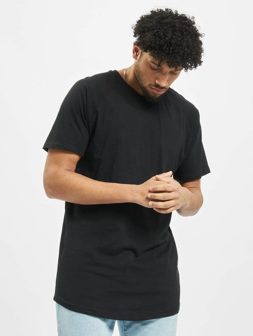 Urban Classics T-Shirt Long Shaped Slub Raglan schwarz