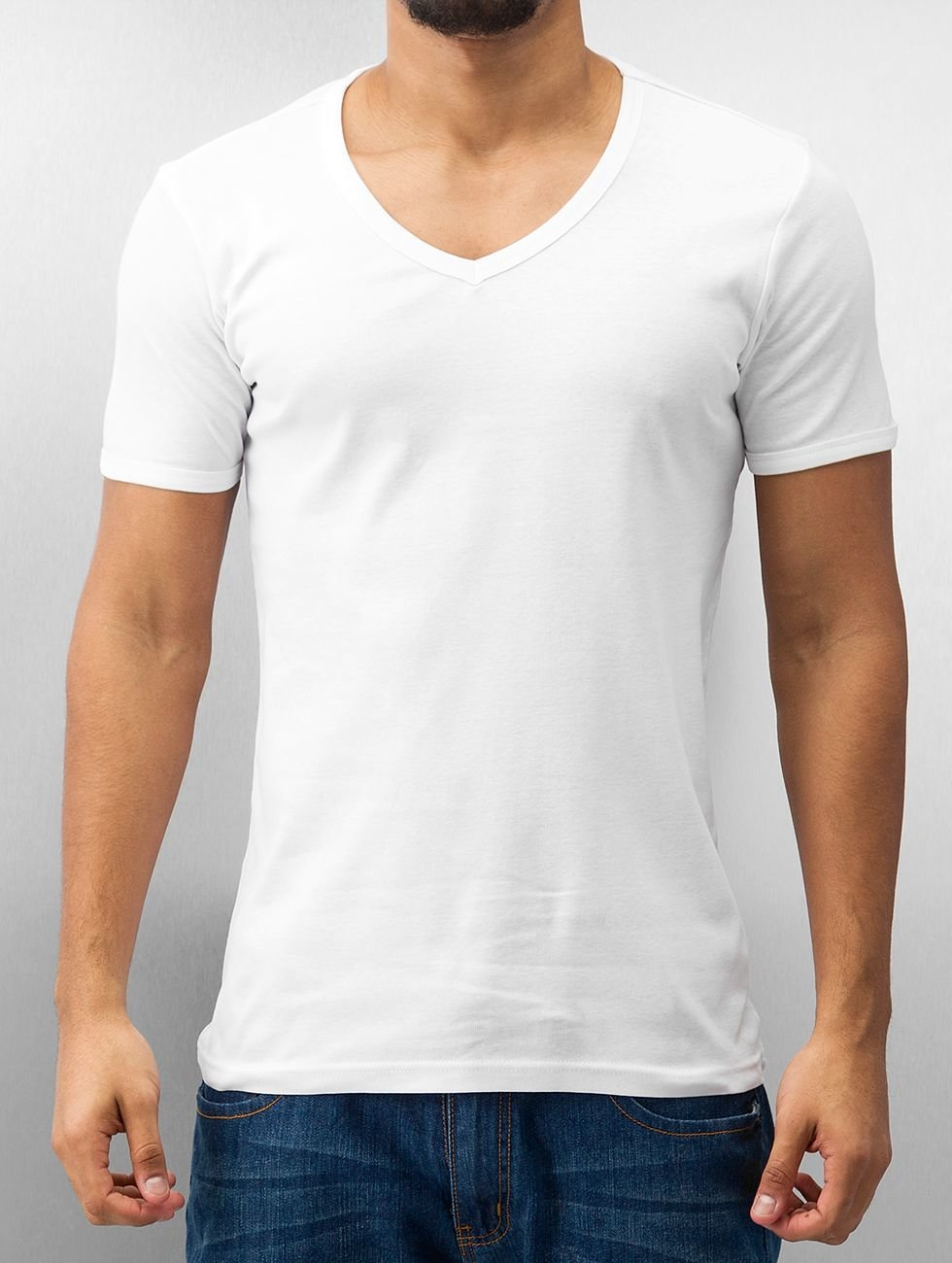 Urban Classics T-Shirt Slim 1by1 V-Neck weiß