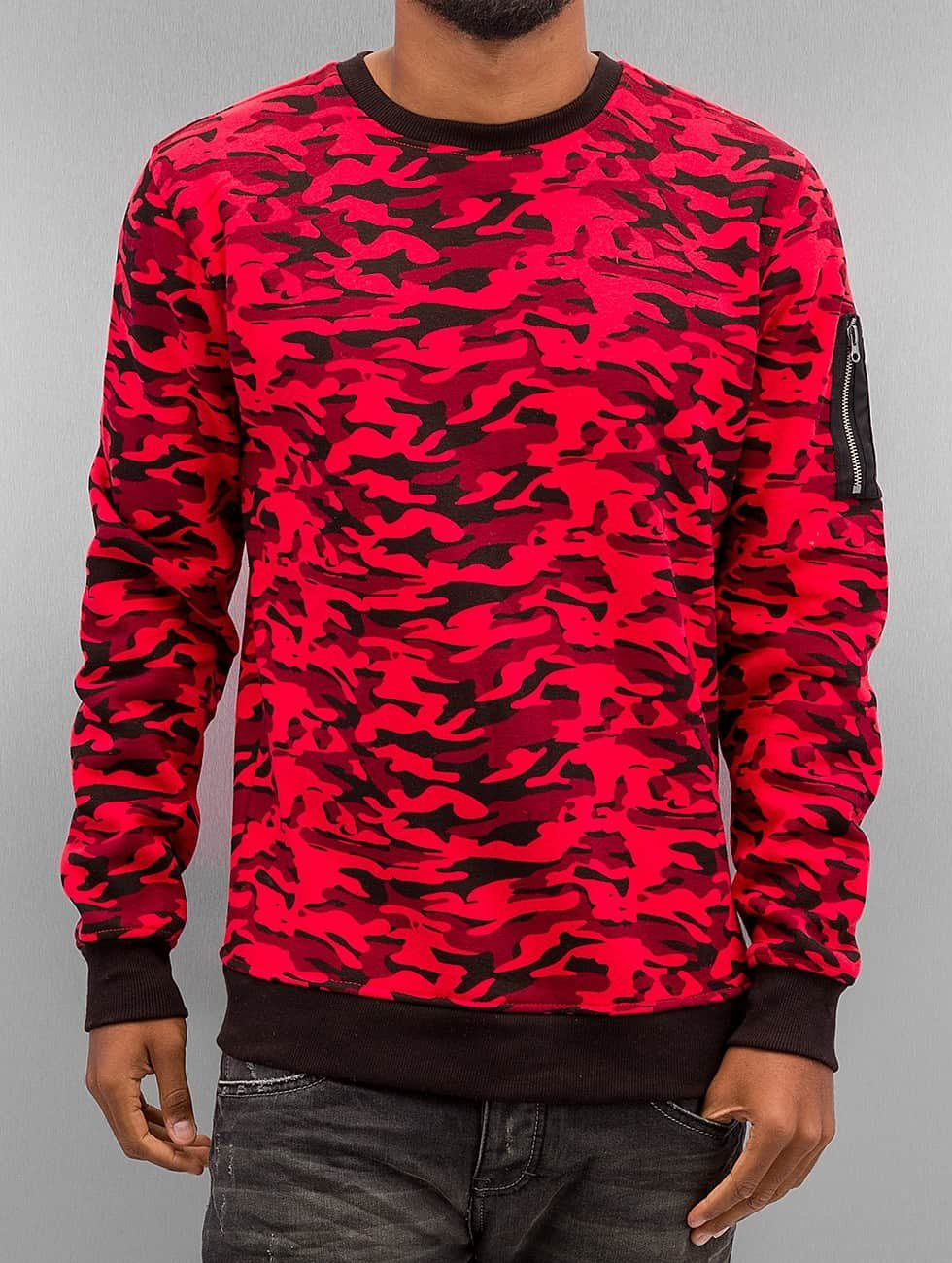 Urban Classics trui Sweat Camo Bomber rood