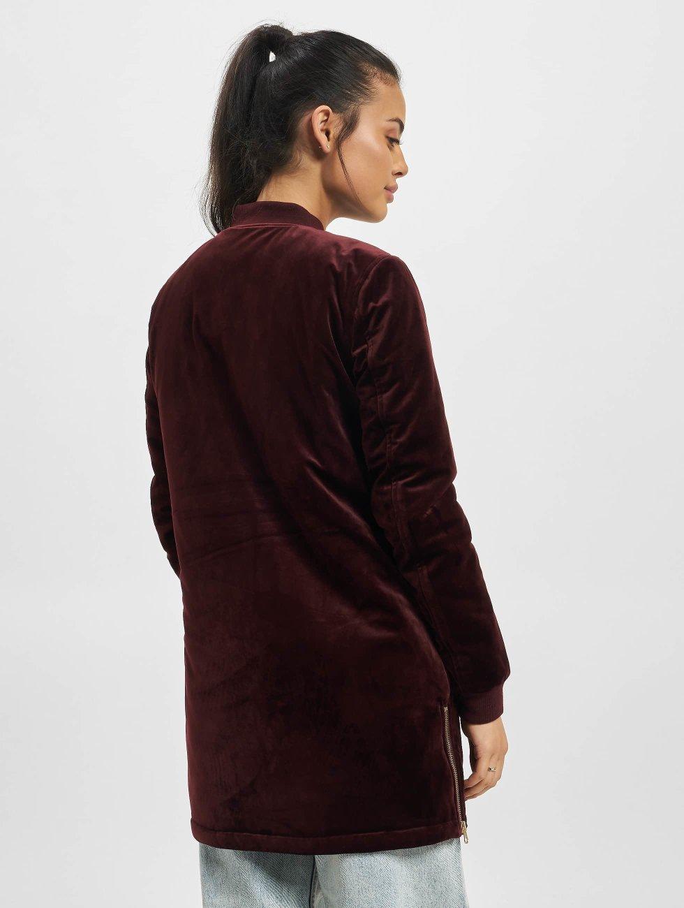 Urban Classics Übergangsjacke Ladies Long Velvet rot