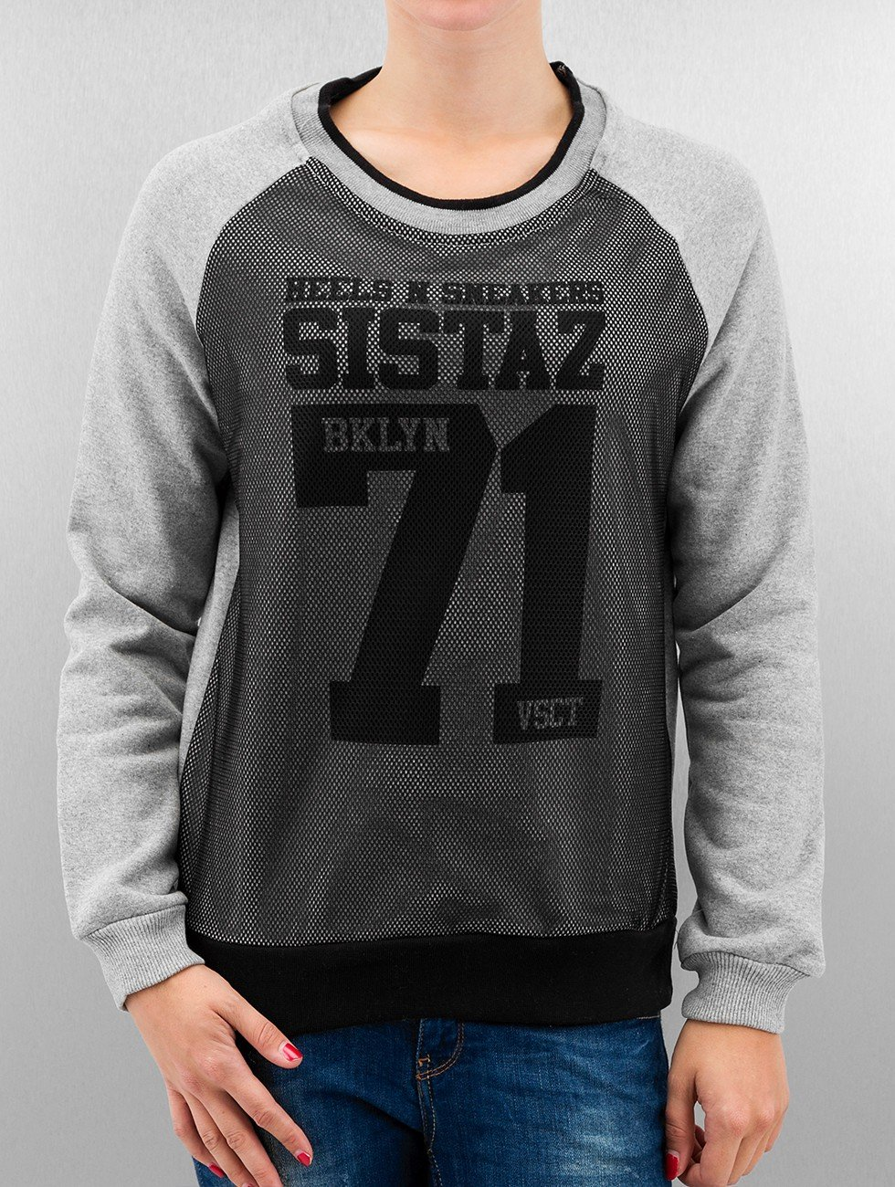 VSCT Clubwear Пуловер BKLYN Sistaz Mesh серый