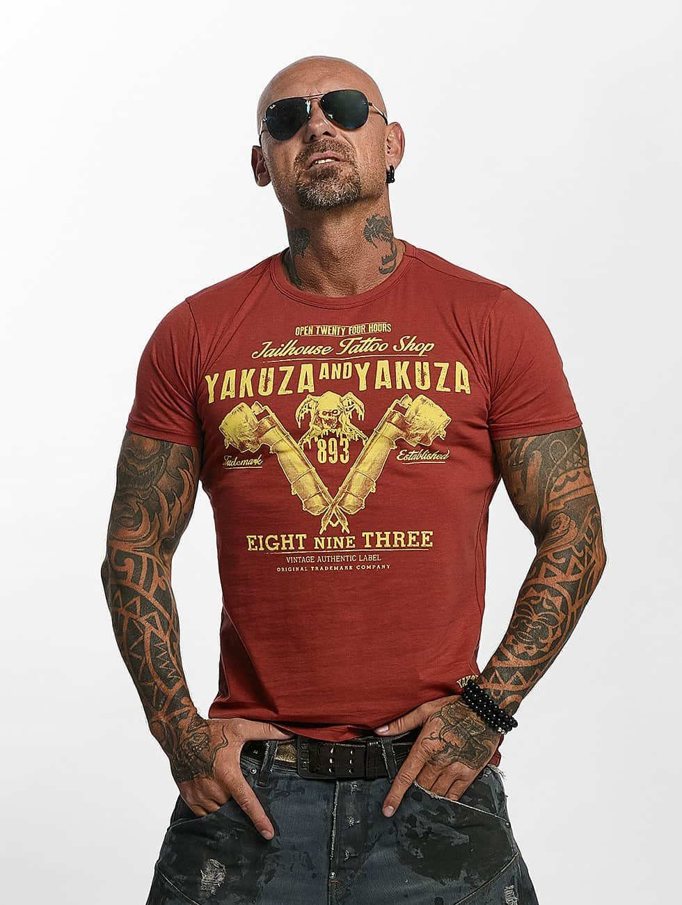 Yakuza T-Shirty Tattoo Shop czerwony