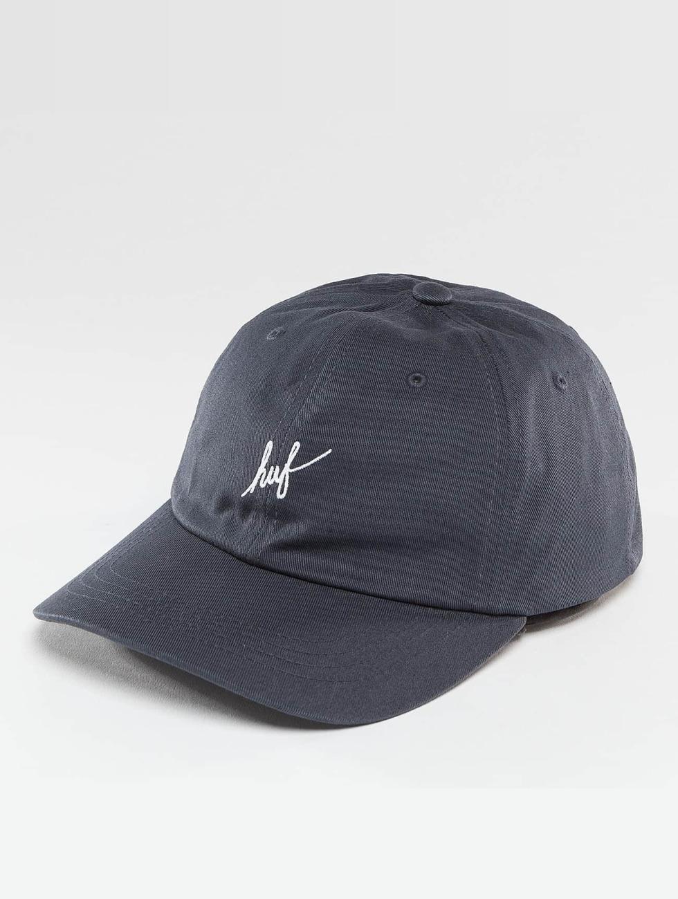 HUF Snapback Cap Script Logo Curve Brim blue