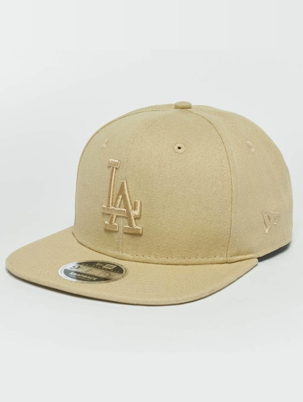 New Era Snapback Caps Canvas LA Dodgers 9Fifty béžový