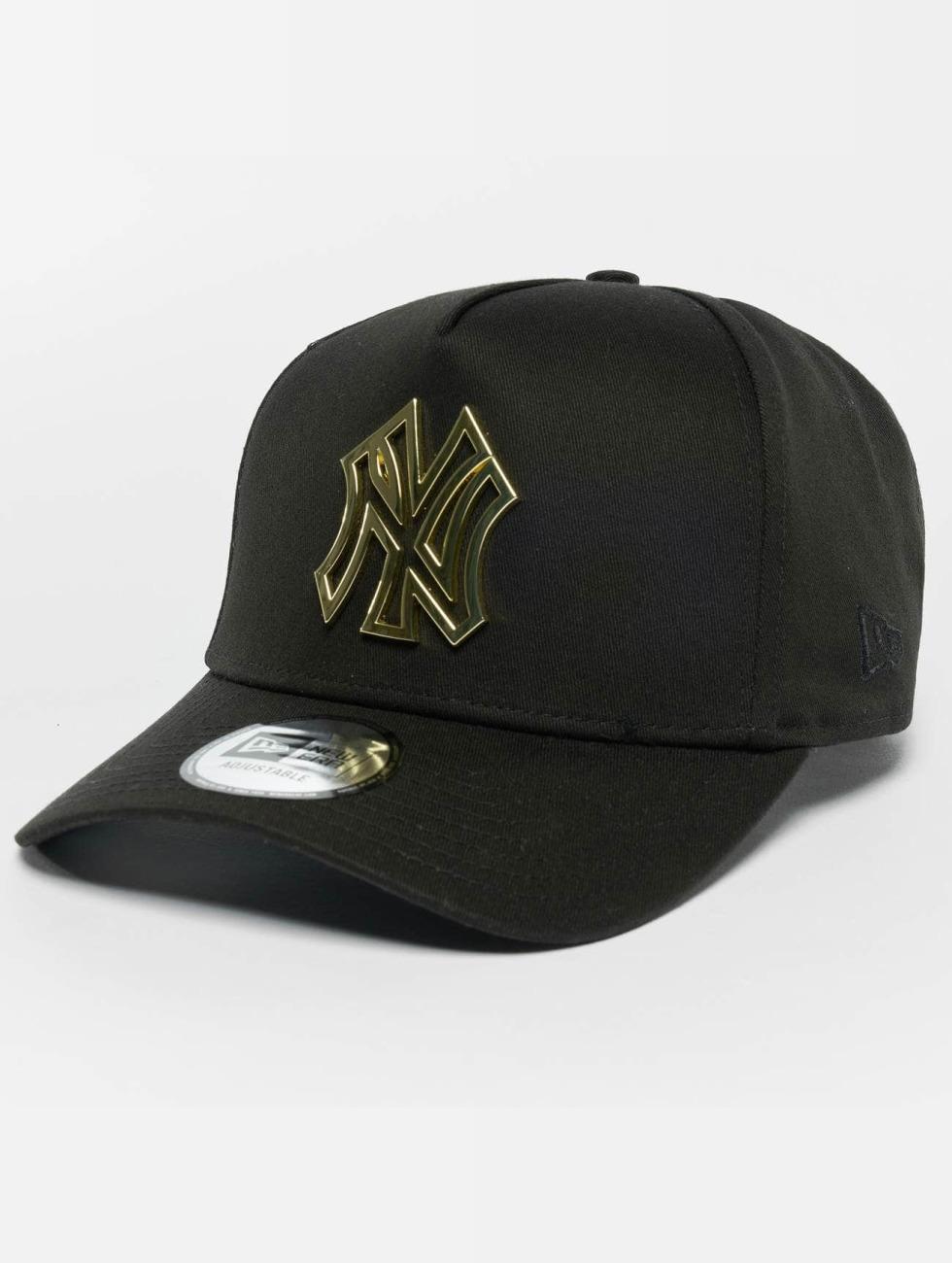 New Era Trucker Caps Metal Badge NY Yankees A-Frame čern