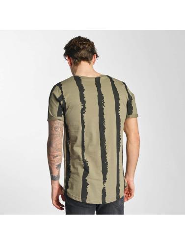 2Y Hombres Camiseta Stripes in caqui