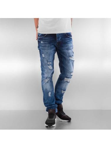 2Y Herren Skinny Jeans Destroyed in blau