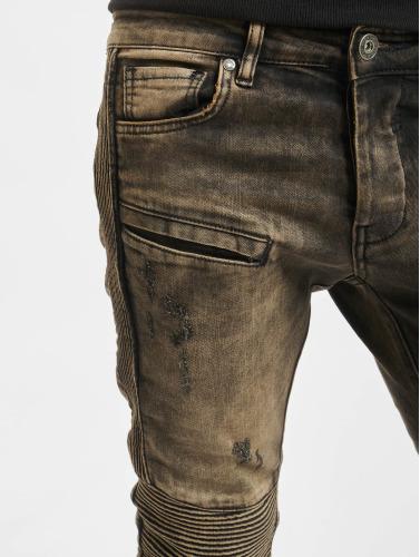 2Y Herren Skinny Jeans Quilted in braun