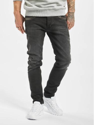 2Y Herren Skinny Jeans Rivet in schwarz