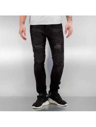 2Y Herren Skinny Jeans Quilted in schwarz