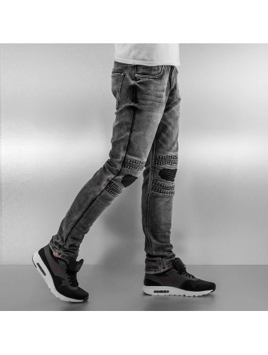 2Y Herren Slim Fit Jeans Knee in grau