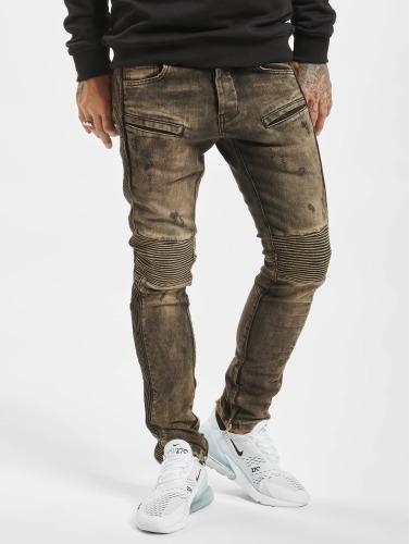 2Y Hombres Vaqueros pitillos Quilted in marrón
