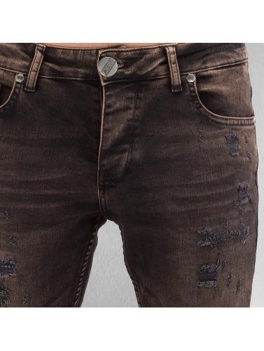 2Y Hombres Vaqueros pitillos Used in marrón