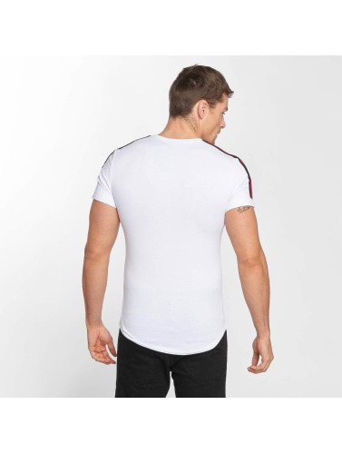 Aarhon Hombres Camiseta Stripe in blanco