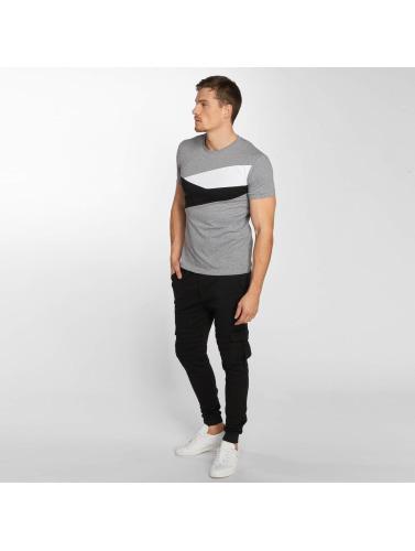 Aarhon Hombres Camiseta Stripes in gris