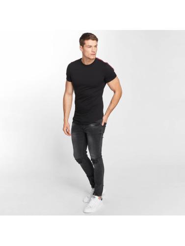 Aarhon Hombres Camiseta Stripe in negro