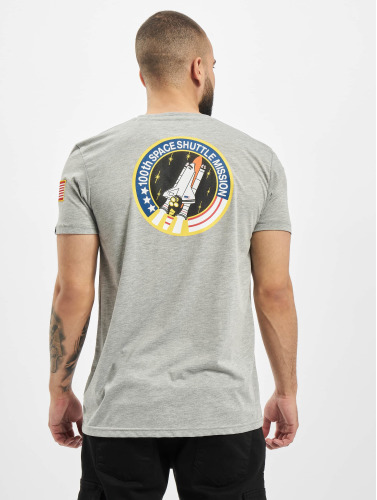Alpha Industries Hombres Camiseta Space Shuttle in gris