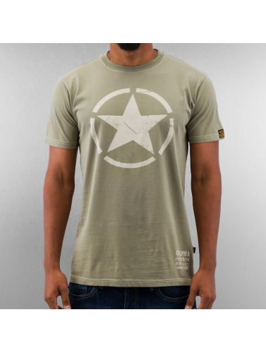 Alpha Industries Hombres Camiseta Star in oliva