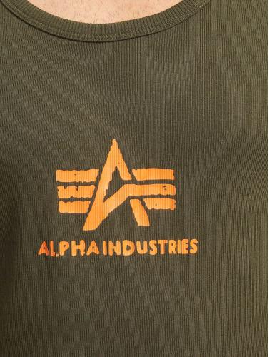 Alpha Industries Hombres Tank Tops Logo in verde
