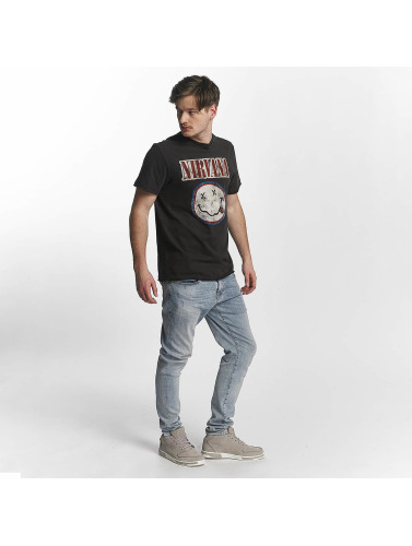 Amplified Hombres Camiseta Nirvana Colour Smiley in gris
