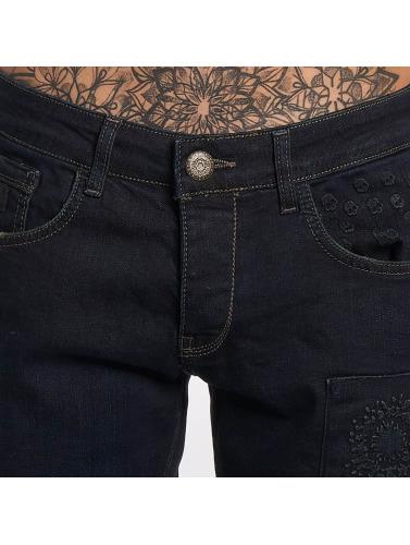 Bangastic Herren Straight Fit Jeans Skull in blau
