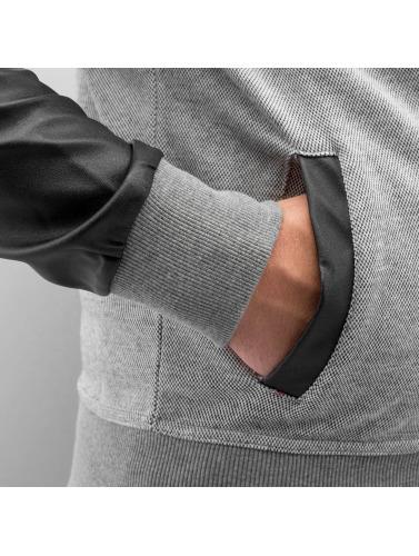 Bangastic Herren Zip Hoodie PU Sleeve in grau