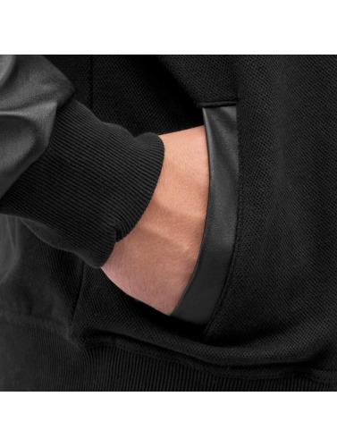 Bangastic Herren Zip Hoodie PU Sleeve in schwarz