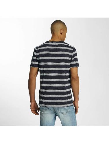 Brave Soul Hombres Camiseta Jacquard Stripe Crew Neck in azul