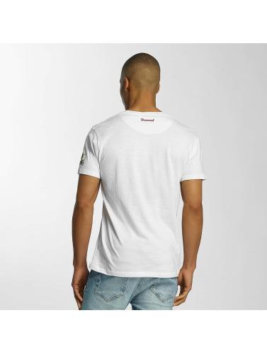 Brave Soul Hombres Camiseta Crew Neck in blanco
