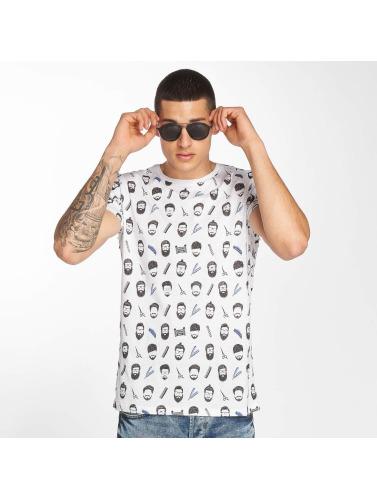 Brave Soul Hombres Camiseta Barber in blanco