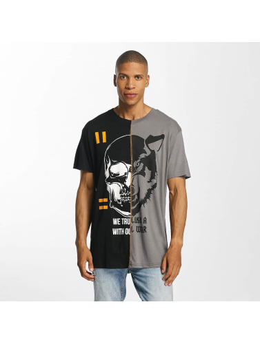 Brave Soul Hombres Camiseta Cut And Sew in negro
