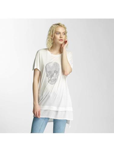 Brave Soul Damen T-Shirt Hotfix Stud Skull in beige