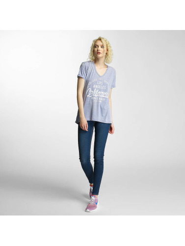 Brave Soul Damen T-Shirt Burn Out V-Neck in blau