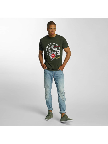 Brave Soul Herren T-Shirt Crew Neck Set in khaki