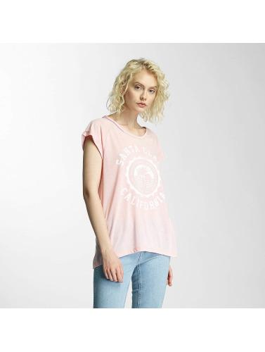 Brave Soul Damen T-Shirt Burn Out Crew Neck in rosa