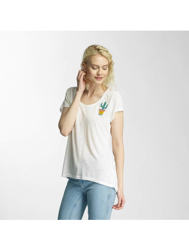 Brave Soul Damen T-Shirt Cactus Badge in weiß
