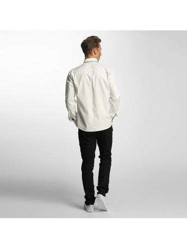 Cazzy Clang Hombres Camisa Squares in blanco