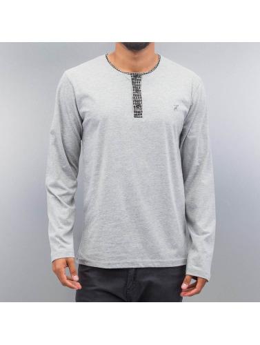 Cazzy Clang Hombres Camiseta de manga larga Button Tape in gris