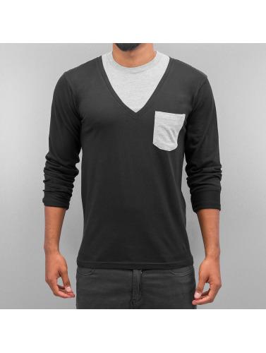 Cazzy Clang Hombres Camiseta de manga larga Breast Pocket in negro